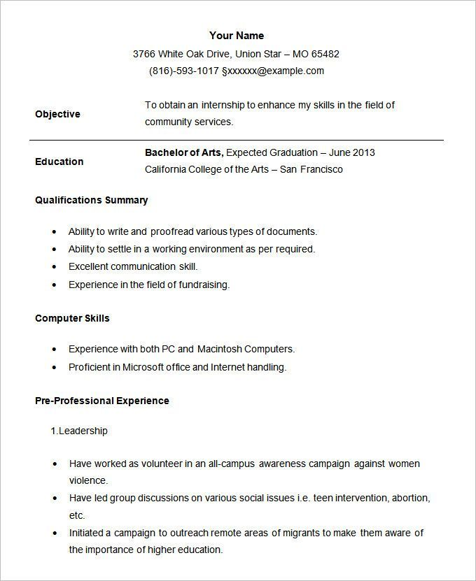 student resume template free samples examples format internship for - waitress resume
