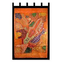 Cotton wall hanging, 'Sunset Orange' from @NOVICA, They help #artisans succeed worldwide.
