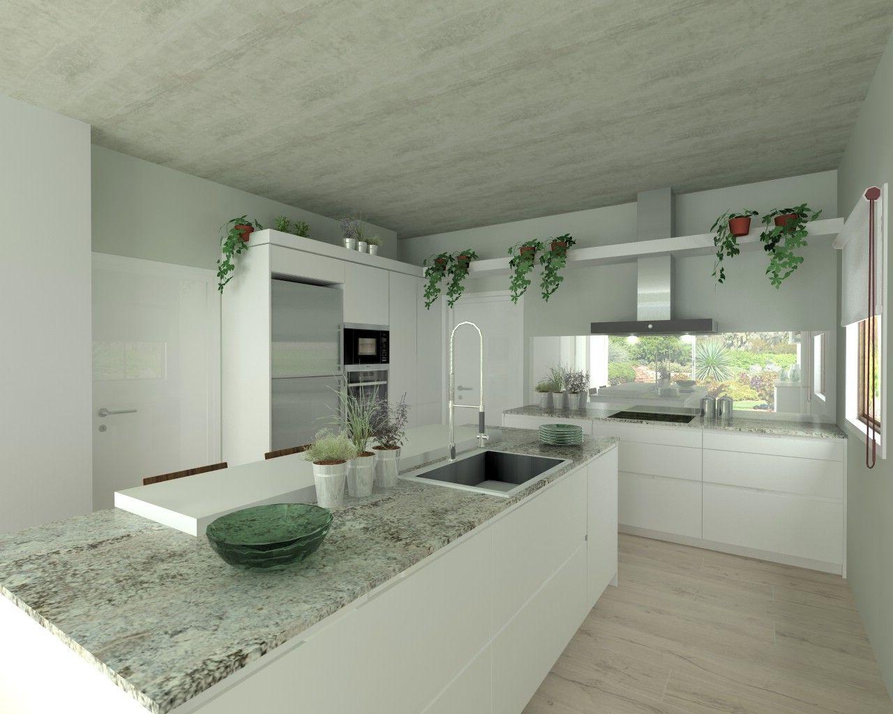 Cocina santos modelo intra l laminado blanco nieve encimera granito naturamia lennon cuines - Encimera cocina granito ...