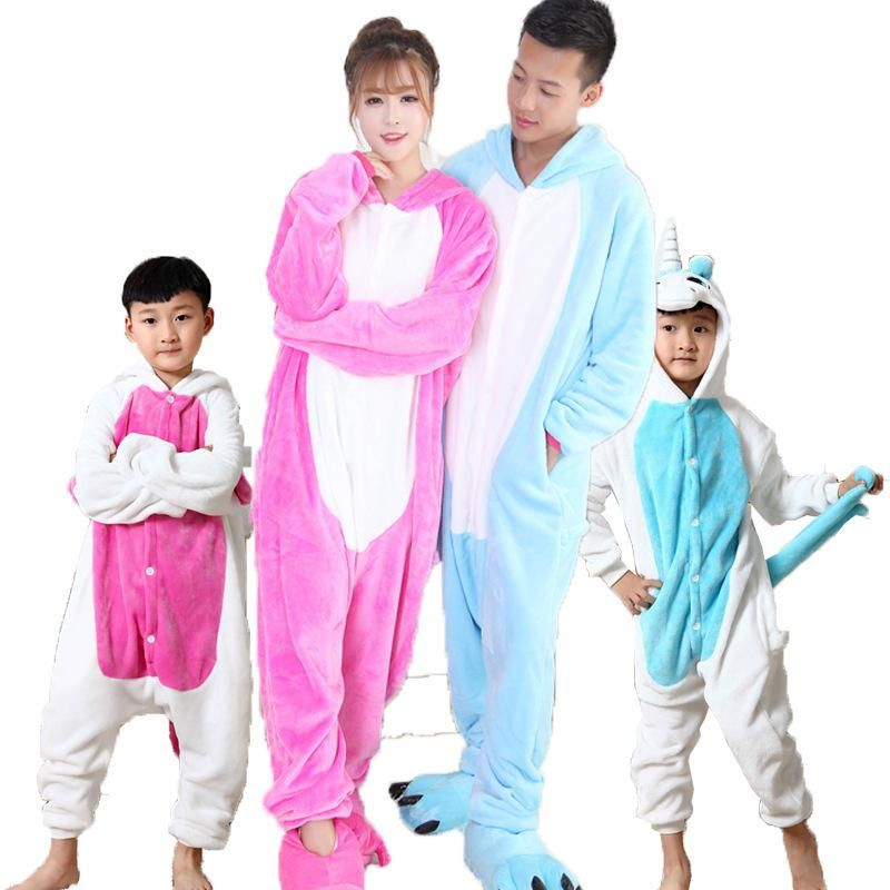 Father Mother Daughter Son Winter Flannel Animal Unicorn Pajamas One Piece Family  Matching Thicken Home Wear 9498cf093