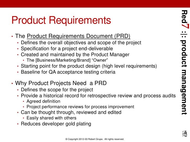Red7 Product Managementproduct Requirements The Product Requirements Document Prd Defines The Overall Business Marketing Management Business Analyst