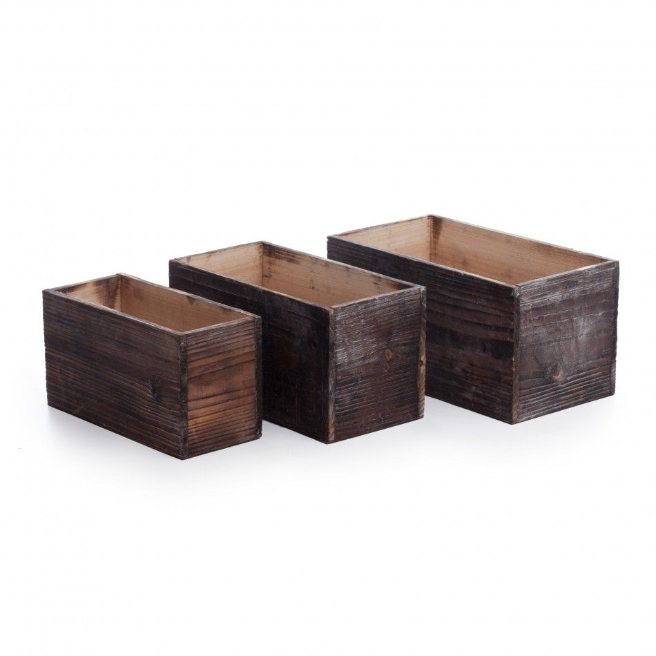 Rustic Rectangular Wood Planters (Set of 3) [403248 WD039 Rect Wood ...