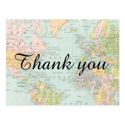 Thank you card multicolor world map bridal showers map wedding thank you card multicolor world map gumiabroncs Image collections