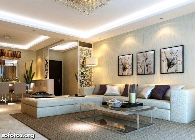 Sala De Estar Decorada Teto De Gesso  Lighting  Pinterest Glamorous Interior Design Ceiling Living Room Decorating Design
