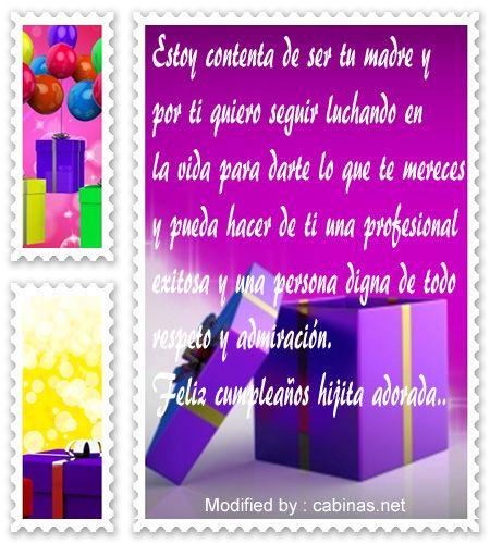 Buscar Imàgenes Con Mensajes Bonitos De Cumpleaños Para Hija