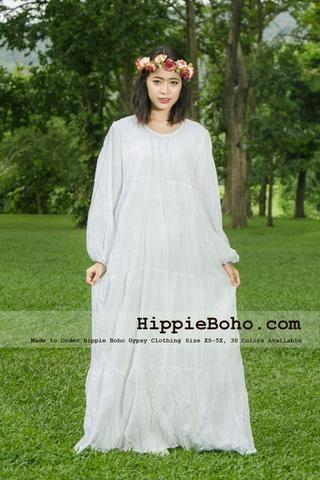 252a2d3c939 No.349 - Size XS-5X Hippie Boho Gypsy Bohemian Bell Wide Sleeve White Maxi Dress  Plus Size Women s Long Dress