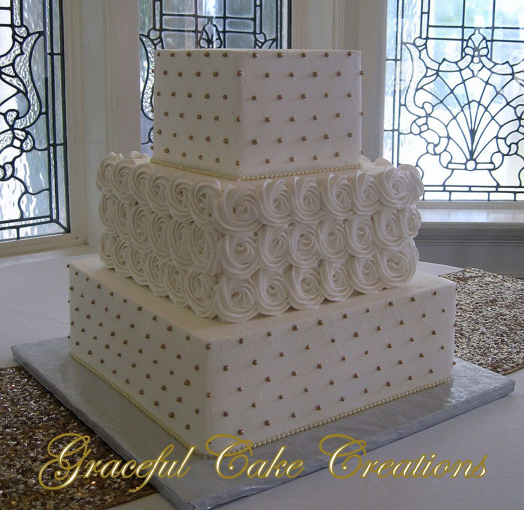 https://flic.kr/p/RSiDBZ | Elegant Square Ivory Butter Cream Wedding Cake with Pipped Rosettes and Gold Sugar Pearls