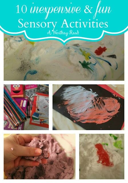 10 easy and inexpensive sensory activities   These are great activities to do with children that have Autism or Sensory Processing Disorder