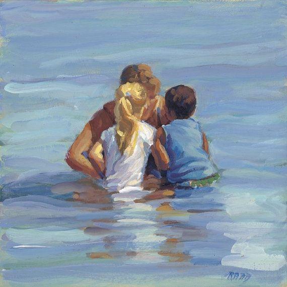 Mother Child children Ocean Beach Canvas Giclee by AllThatArt, $72.00