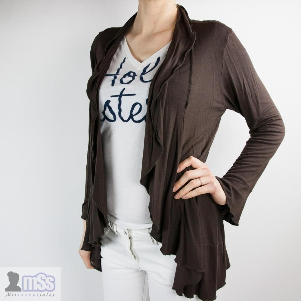SOON Ladies Brown Waterfall Light Cardigan Blazer sz 12 ...