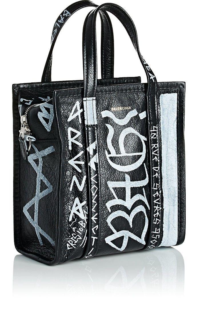 3c8e448513 Balenciaga Arena Leather Bazar Extra-Small Shopper Tote Bag - Black 1 Sz