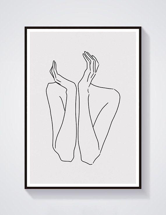 Skizze 29 KUNSTDRUCK minimalistisch LINE Kunst Frau Körper Linien Self #minimalisthomedecor