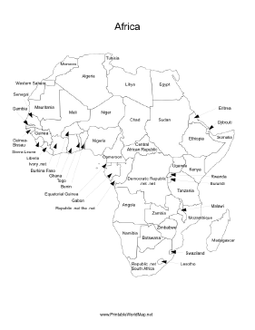 a printable map of the continent of africa labeled with the names of