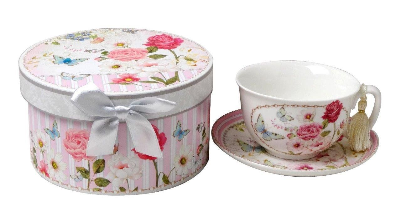Amazon.com | Lightahead Bone China Cup and Saucer Set in a Reusable Handmade Gift Box with Ribbon and Bead, Tassel on handle, in pretty pink garden design: Cup & Saucer Sets