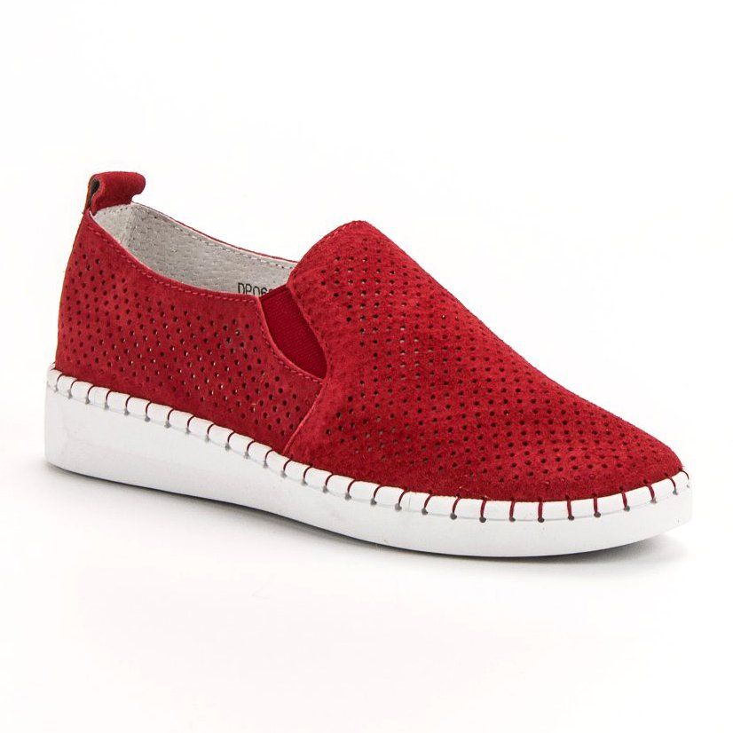Filippo Skorzane Trampki Slip On Czerwone Sneakers Leather Sneakers Womens Sneakers