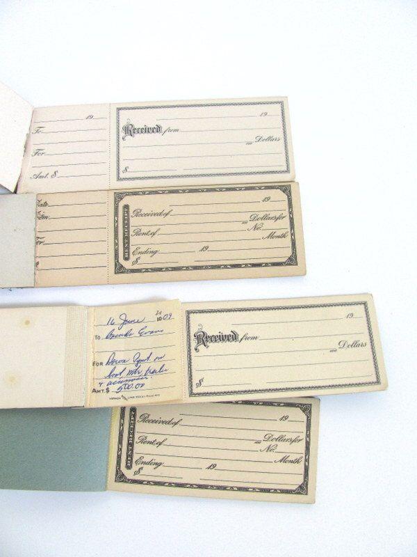 CLEARANCE SALE! Antique Money Receipt Book \/ paper ephemera \/ set - money receipt design