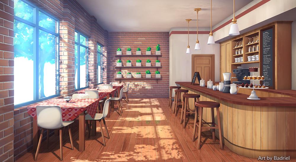 Cafe by Badriel on DeviantArt em 2020 Cenário anime