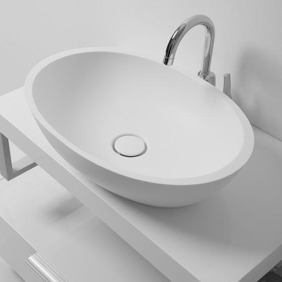 aufsatz waschbecken oval aus stein modern milo. Black Bedroom Furniture Sets. Home Design Ideas
