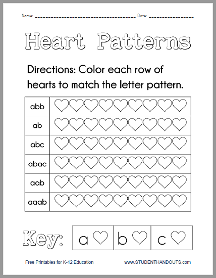 heart patterns worksheet free to print pdf file. Black Bedroom Furniture Sets. Home Design Ideas