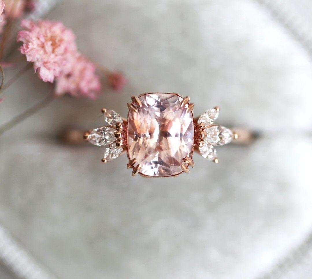 Aretha Peach Sapphire Engagement Ring Peach Sapphire Engagement