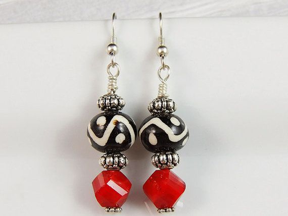 Ikat Red drop earrings - Sterling silver Ikat earrings - Ethnic Jewelry - Red earrings - Ikat Jewelry- Ikat