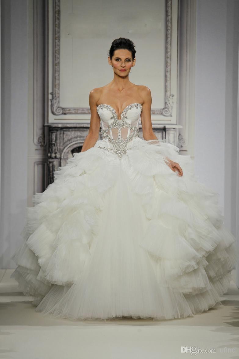 Wholesale Ruffle Wedding Dress - Buy Luxury Pnina Tornai Bridal Gowns Vintage Castle Ball Gown Sweetheart Bones See Through Corset Crystal Beaded Wedding Dresses BRI-173, $226.56 | DHgate
