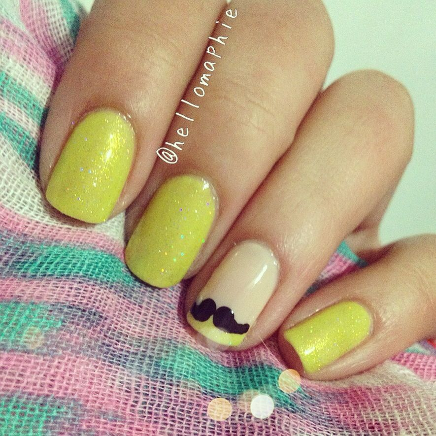 Nail Art Designs Tutorial Youtube: Neon Mustache Ashley Benson Inspired Nails ! Tutorial On