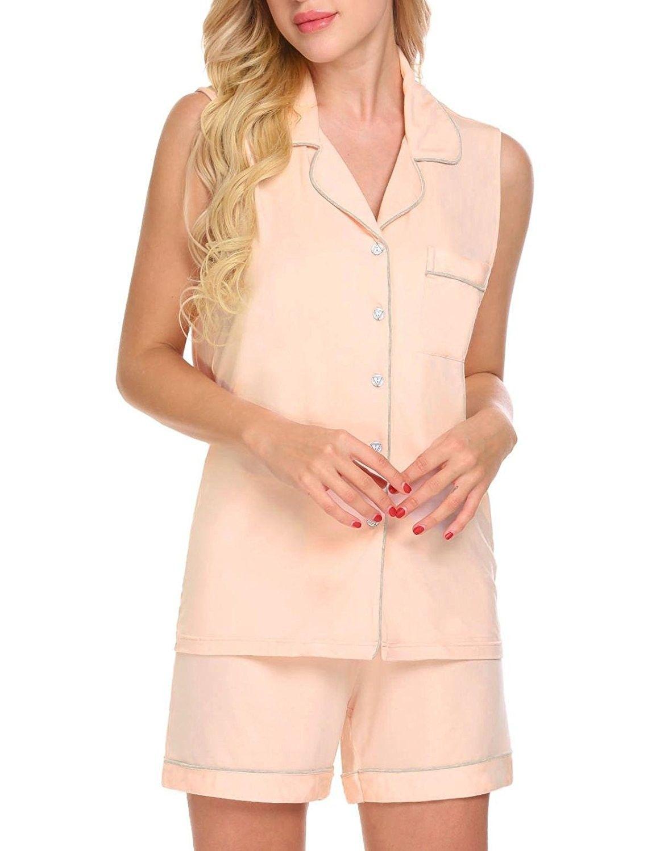 779a2a9476d6ce Womens Sleeveless Button Down 2 Piece Sleepwear Shirt and Shorts ...