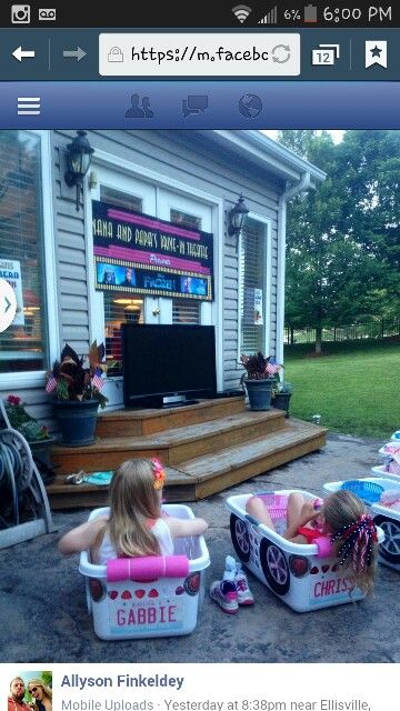 drive in movie theater at home birthday party laundry basket cars