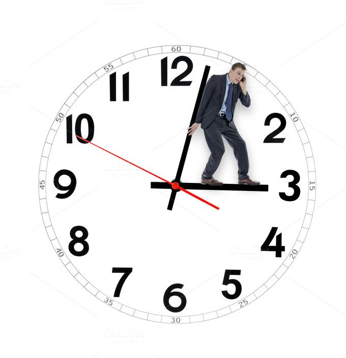 Business man pushing clock by mactrunk on Creative Market