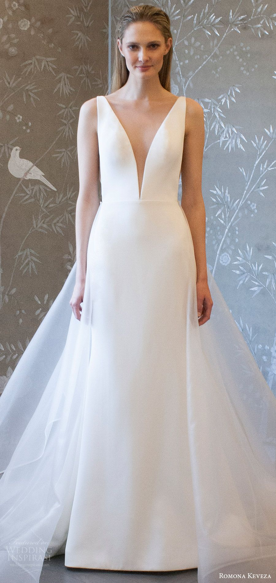 d0ac7b000a428 romona keveza spring 2018 bridal sleeveless deep v neck a line trumpet wedding  dress (rk8400) mv detachable overskirt modern -- Romona Keveza Collection  ...