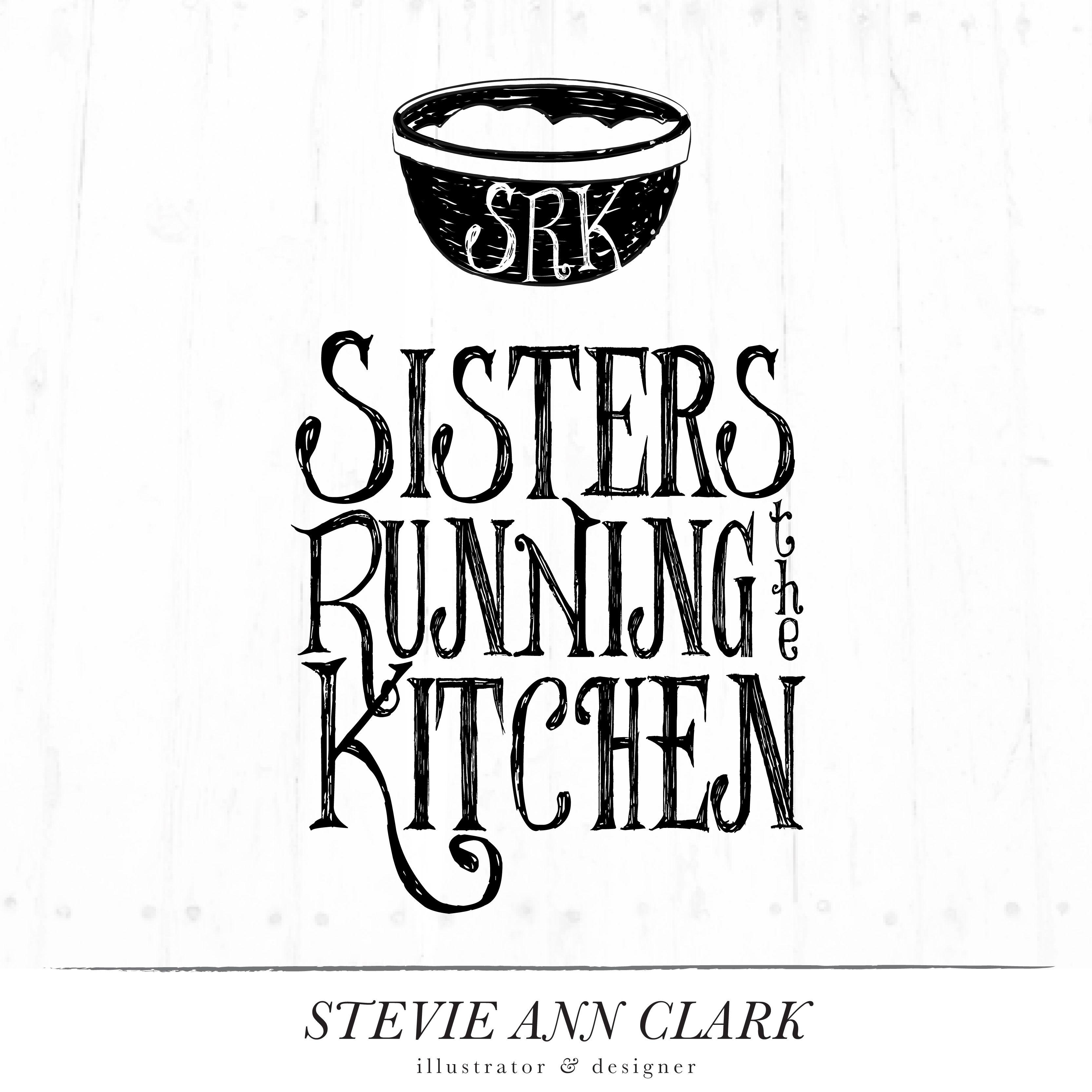Hand Drawn Typography Logo, Kitchen, Food Blog, Sketchy