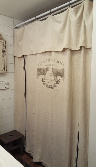 Pennies Primitives Grain Sack Inspired Curtains Cow Shower Curtain