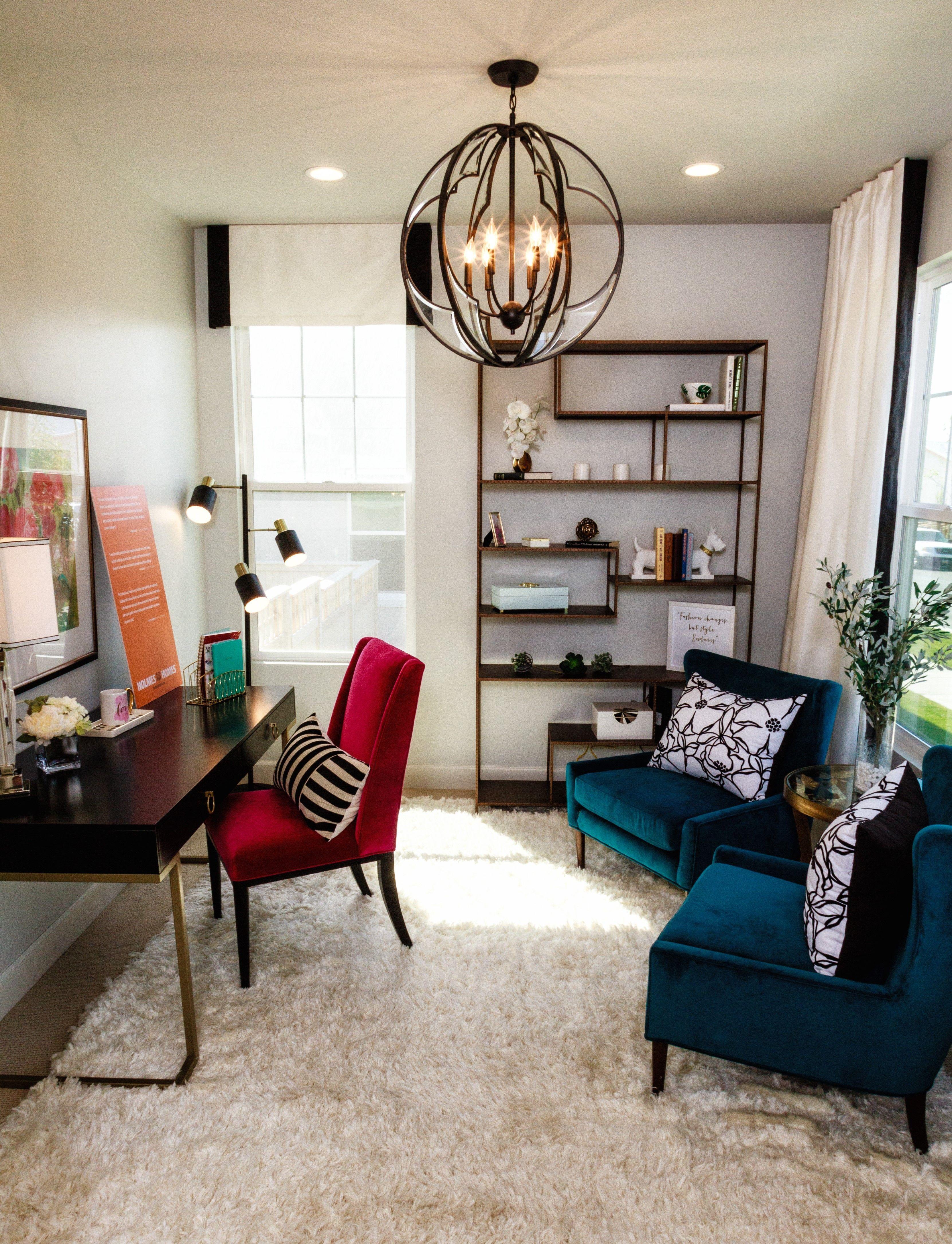 We love the jewel tone furniture in this holmes homes office holmes homes utah homebuilder utah custom homes home office design inspiration home