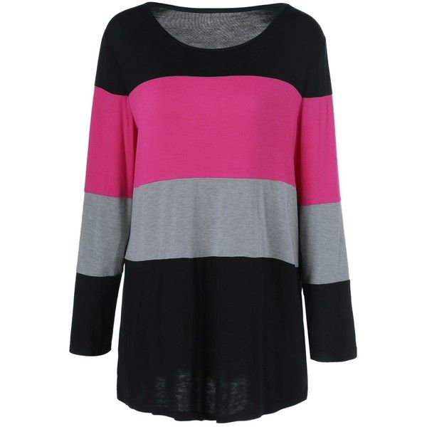 Plus Size Colorful Striped Comfy T Shirt ($13) ❤ liked on Polyvore featuring tops, t-shirts, plus size striped top, colorful t shirts, plus size womens tees, colorful tops and multi colored t shirts