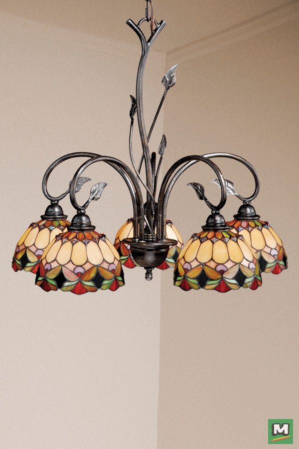 Patriot Lighting Belle Oil Shale Chandelier With Tiffany Style