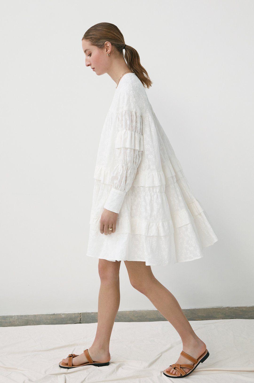 Freda Tiered Trapeze Dress In Ecru Daughter Trapeze Dress Dresses New Dress [ 1624 x 1080 Pixel ]