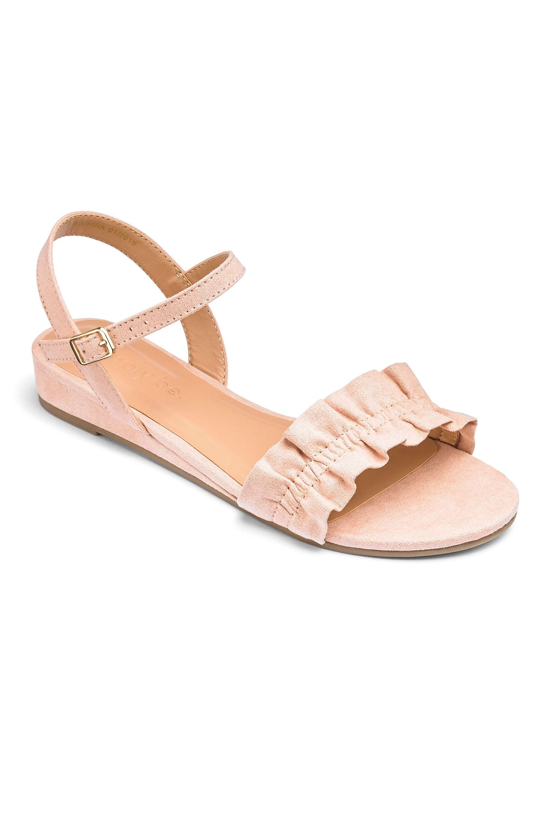 Womens Simply Be Low Wedge Ruffle Wide