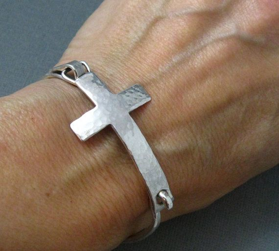 Sterling Silver Cross Bangle Bracelet Hammered Latch Handmade