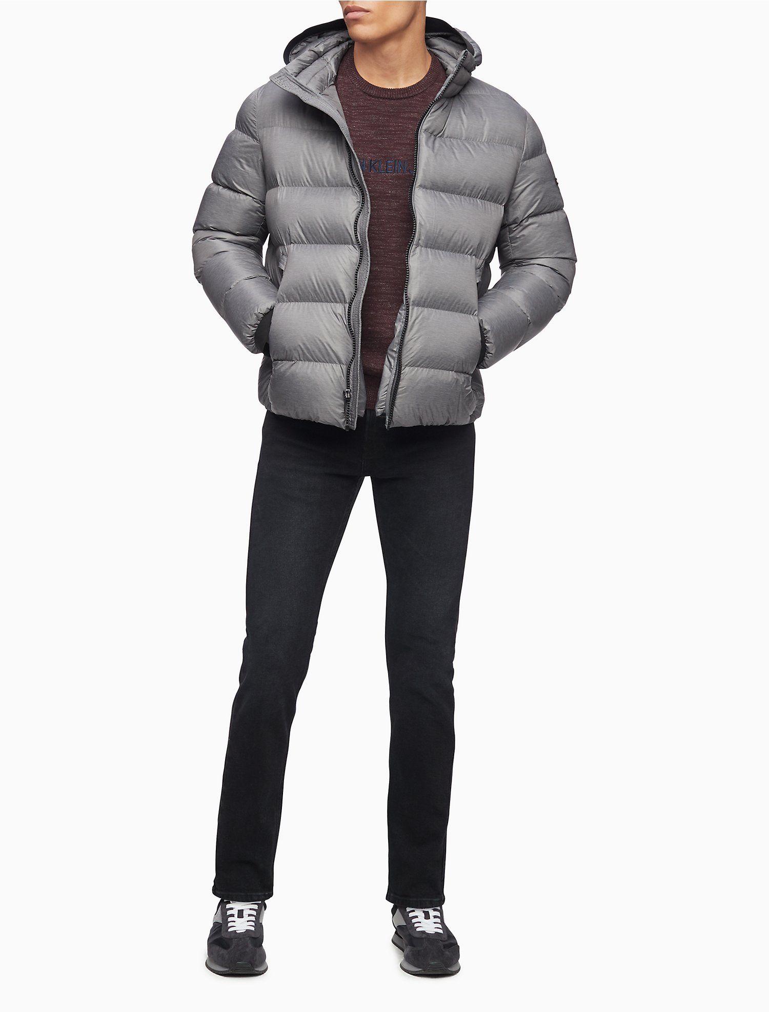 Solid Zip Hooded Puffer Jacket Calvin Klein Puffer Jacket Men Calvin Klein Long Sleeves Jacket [ 1975 x 1500 Pixel ]