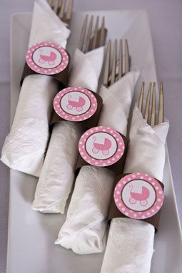 Napkin Rings   Pink Carriage Theme   Itu0027s A Girl Baby Shower Decorations In  Pink And Brown (12)