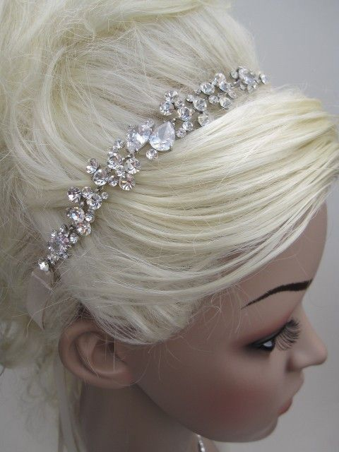Bridal crystal headbands, wedding hair accessories,wedding headband rhinestone, crystal wedding headband, bridal headpeices. $75.00, via Etsy.