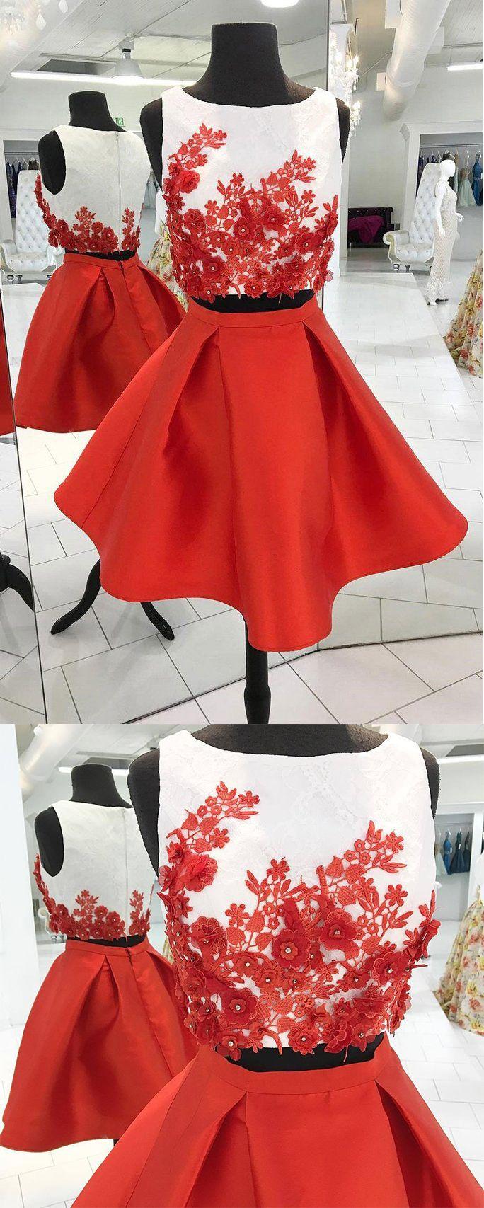 Red short two piece a line homecoming dressesgraduation dresses