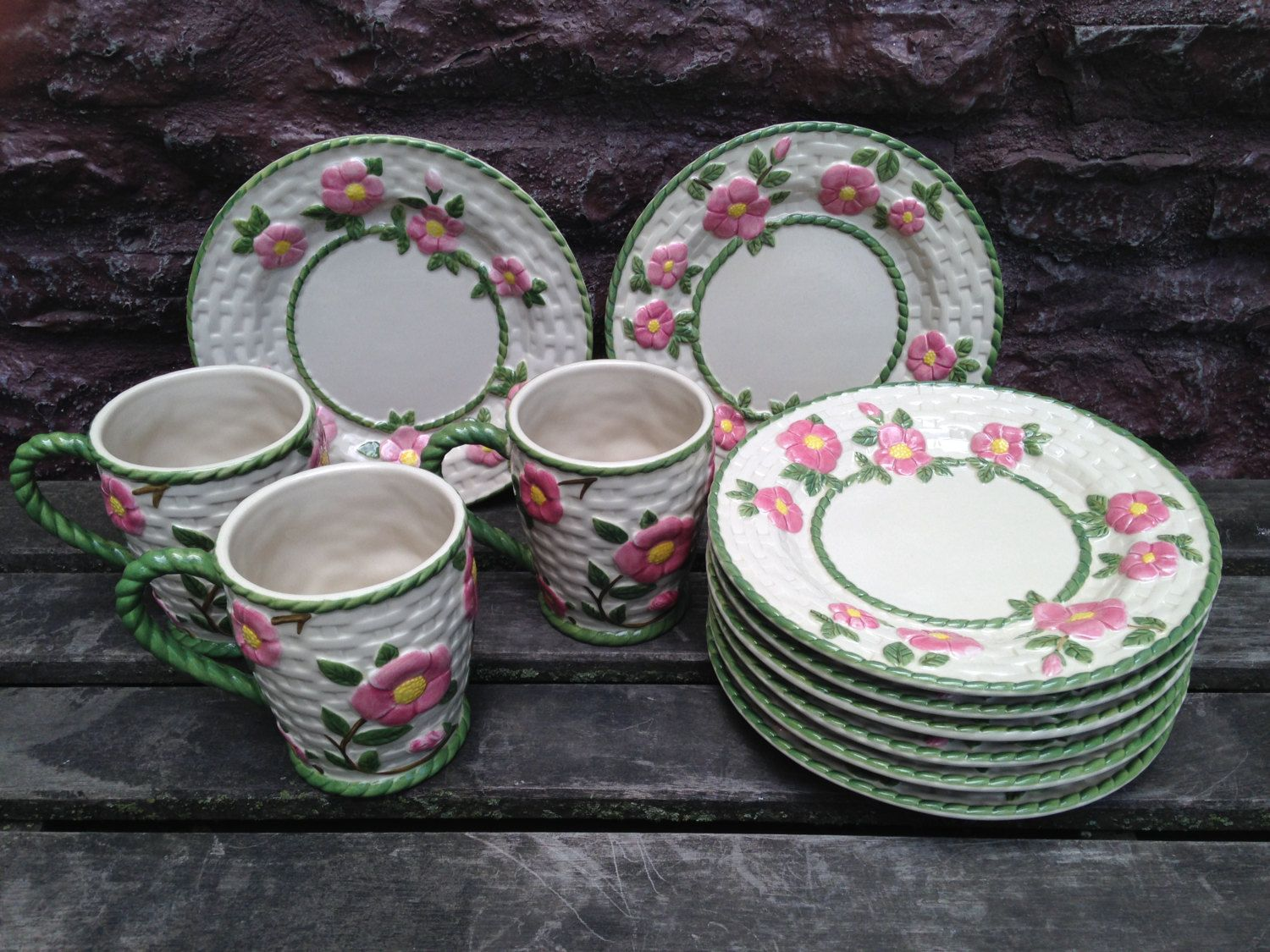 Franciscan Desert Rose Basketweave 8 Luncheon plates / 3 Large Mugs / RARE HTF/ Portugal & Franciscan Desert Rose Basketweave 8 Luncheon plates / 3 Large Mugs ...