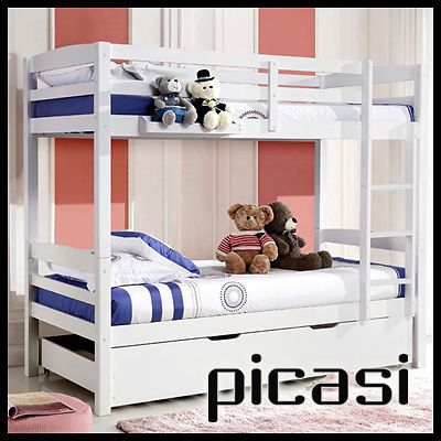 Picasi twin over solid pine single bunk childrens wooden - Childrens pine bedroom furniture ...