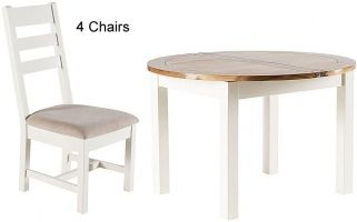 Originals Mont Blanc Painted Dining Set - Round Fixed Top with 4 Chairs