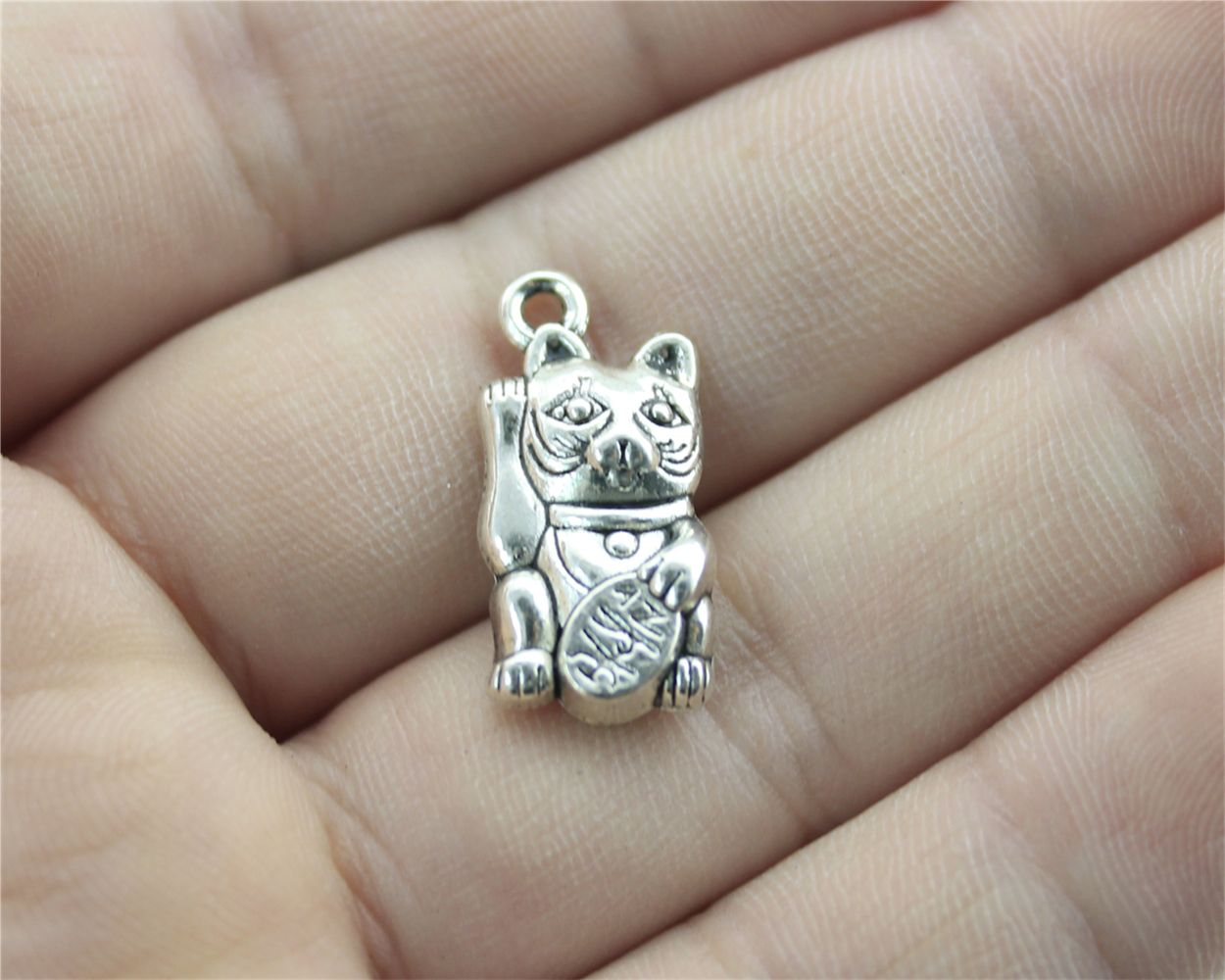WYSIWYG 4pcs Antique Silver Color 23*11mm lucky cat Charms For DIY Handmade Jewelry B10896