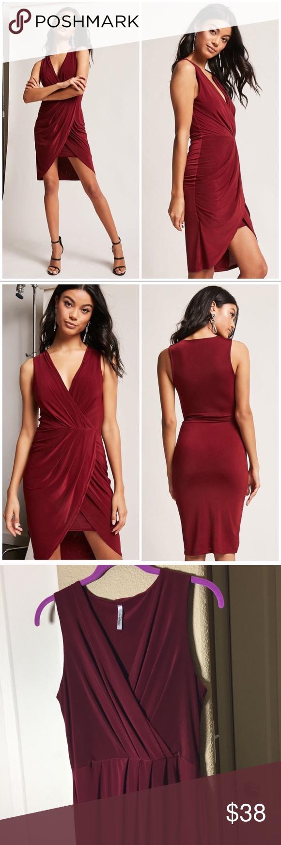 New Forever 21 Wine Wrap Tulip Cocktail Dress M Dresses Stretch Knit Dress Clothes Design [ 1740 x 580 Pixel ]