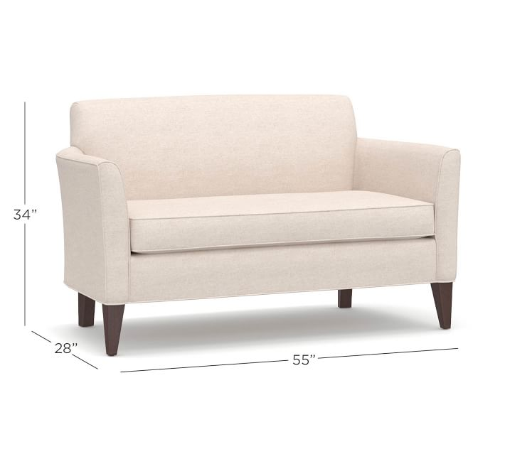 Marcel Upholstered Mini Sofa Mini Sofa Sofas For Small Spaces Small Sofa
