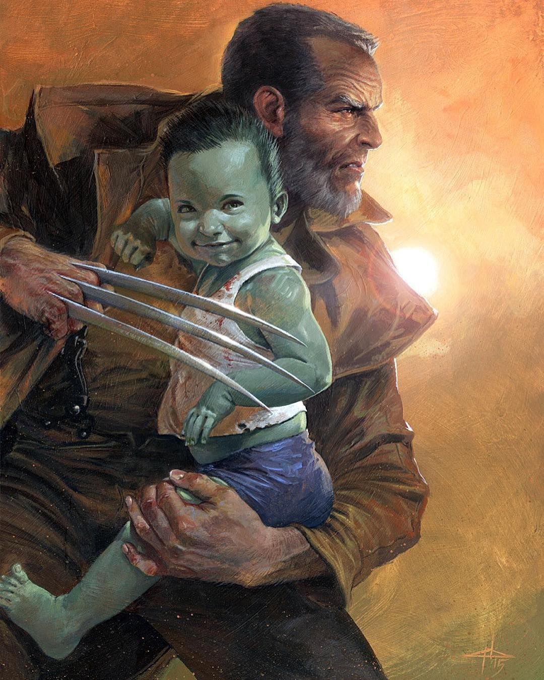 Old man fucking twinkle Gabriele Dell Otto cover for Old Man Logan Cover